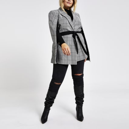 Plus black check belted cape jacket