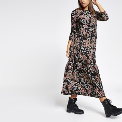 Black paisley long sleeve tiered smock dress