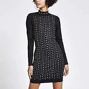 Schwarzes Bodycon-Kleid mit Nietenverzierung