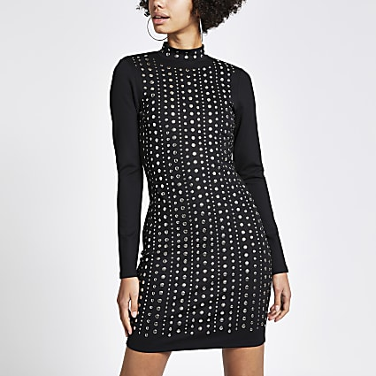 Black stud embellished bodycon dress