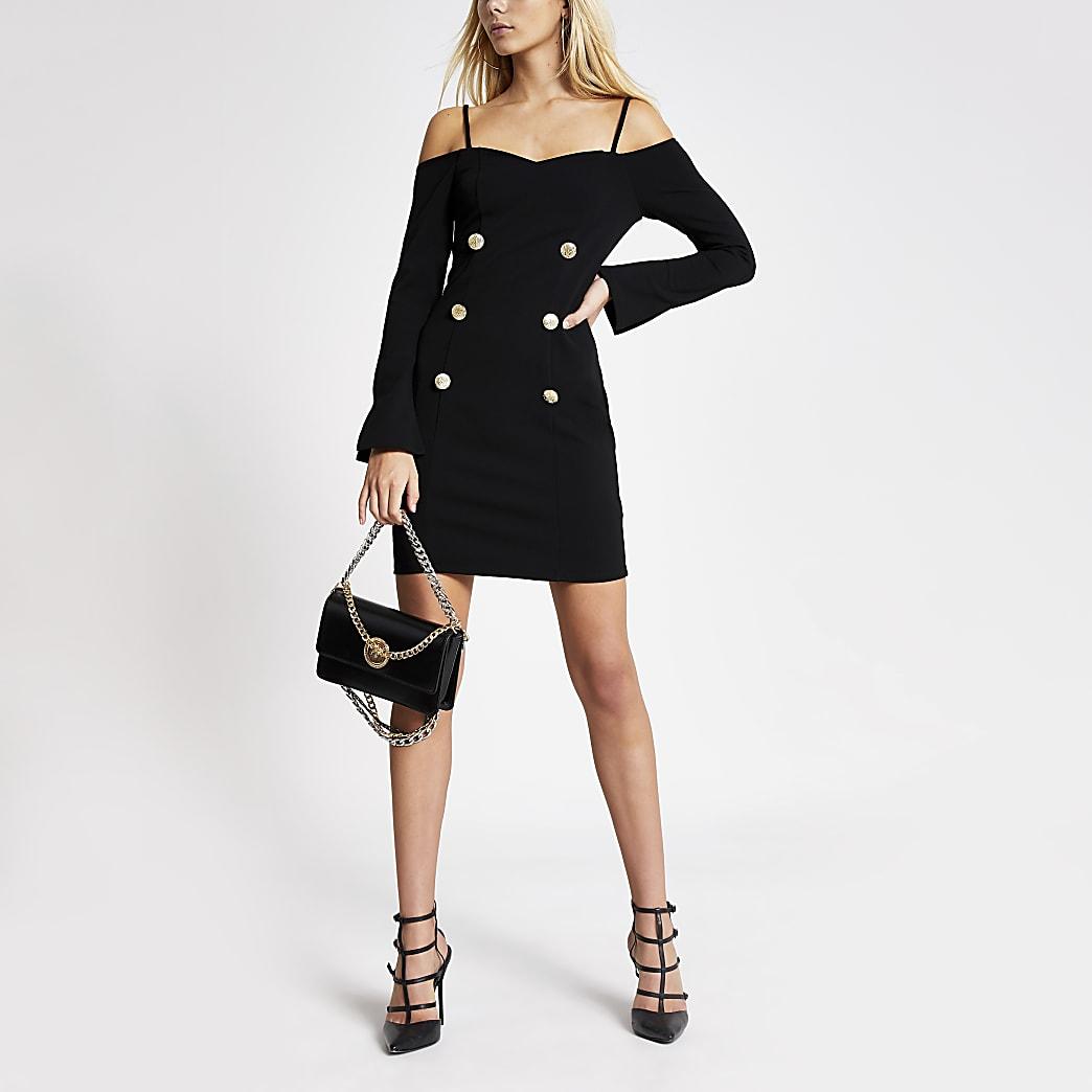 Black cold shoulder bodycon tux dress