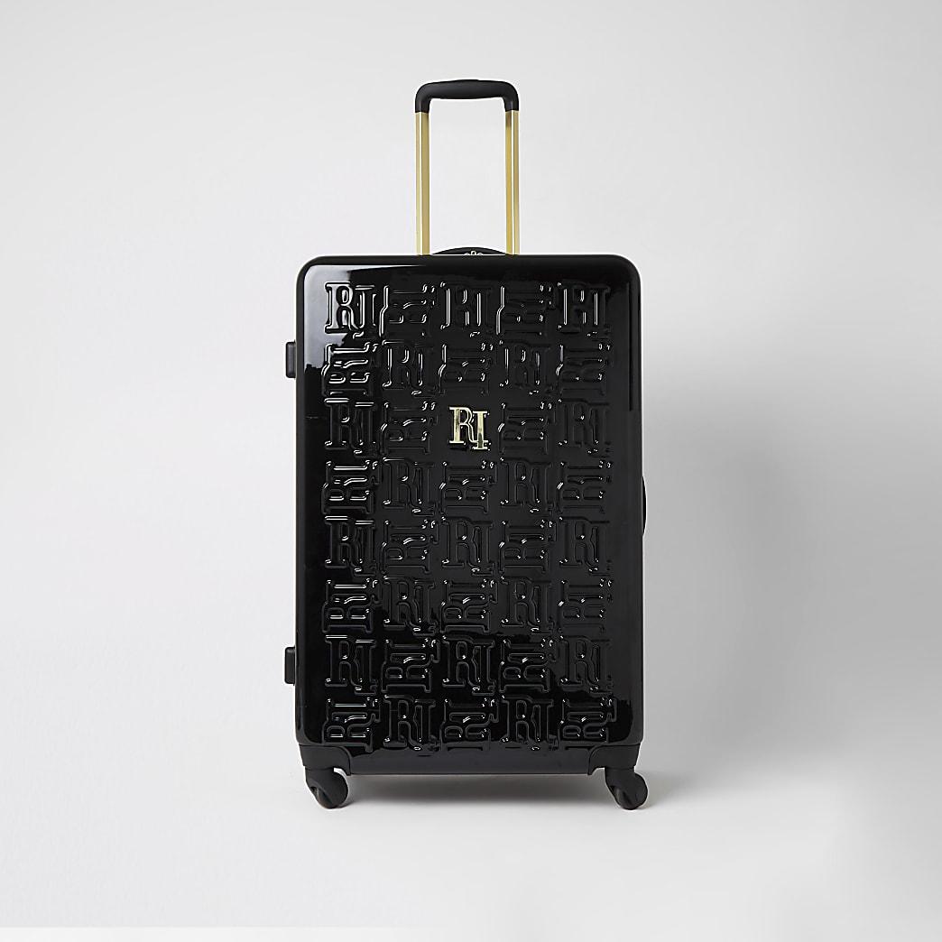 Black RI embossed large suitcase