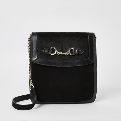 Black leather chain front messenger bag