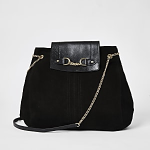 Black leather fold over chain slouch bag