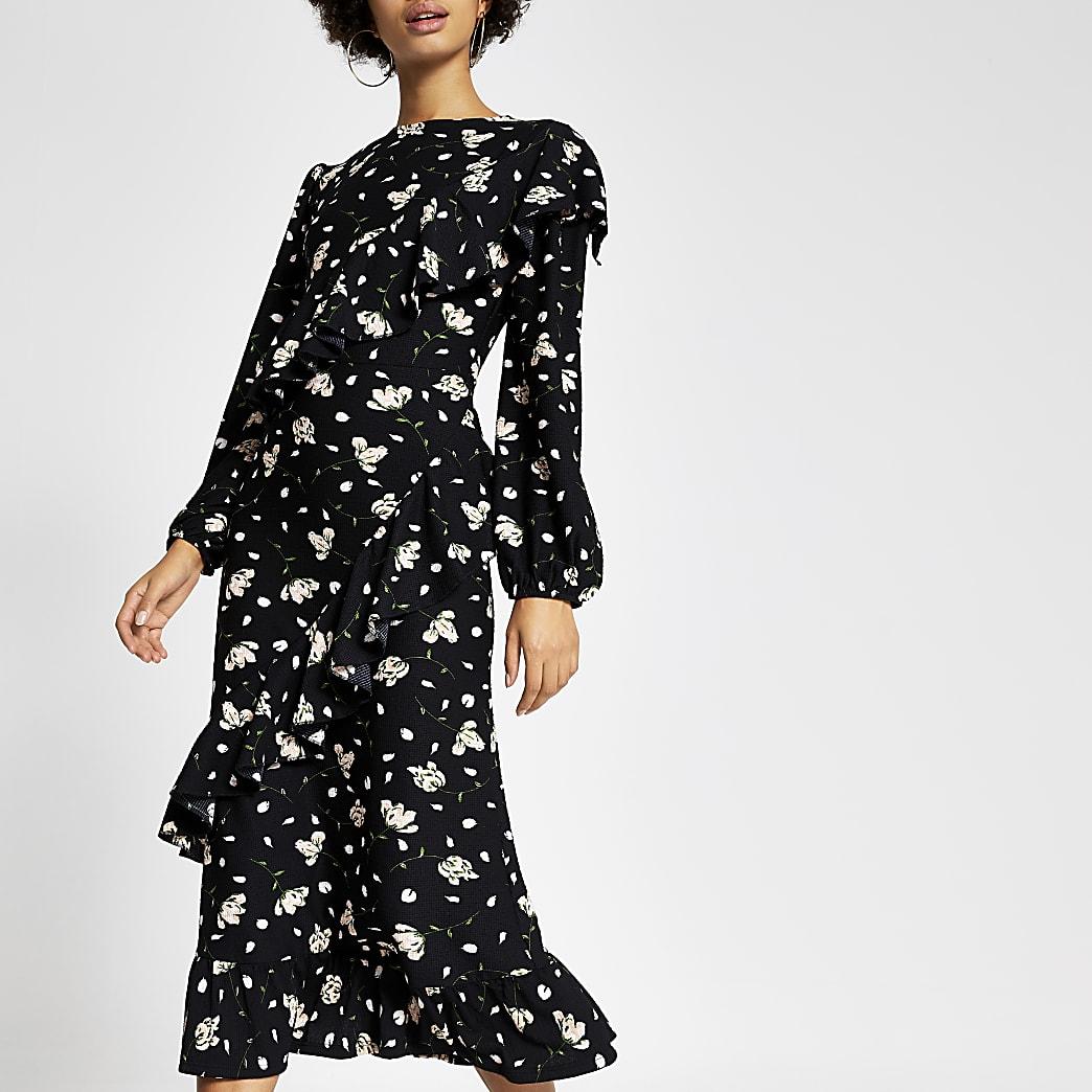 Zwarte midi-jurk met print, lange mouwen en ruches