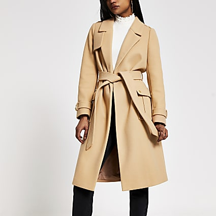 Petite beige belted utility trench coat