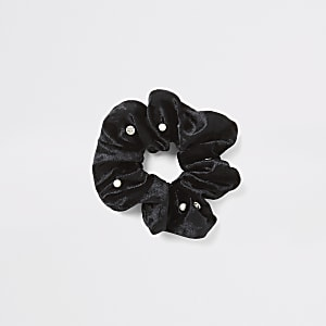 Zwarte fluwelen verfraaide scrunchie