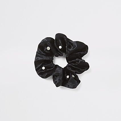 Black velvet embellished scrunchie
