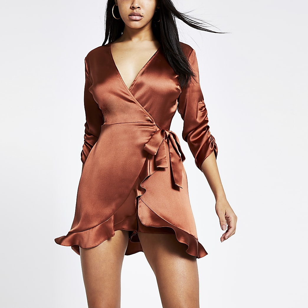 Brown satin long sleeve wrap front playsuit