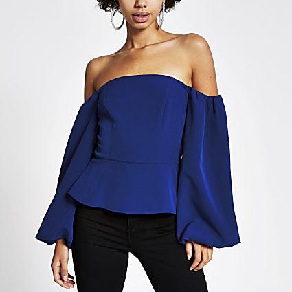 Blue puff sleeve bardot cropped top