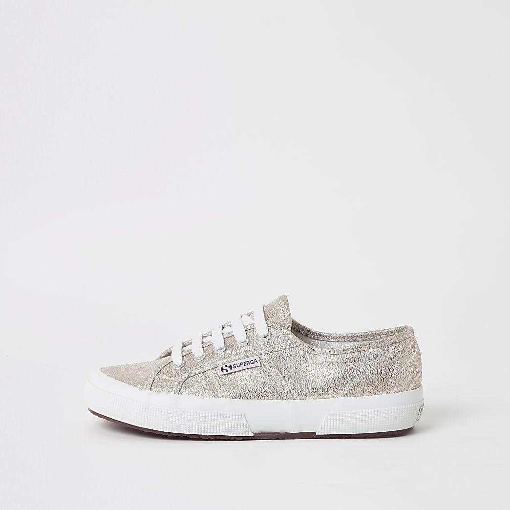 Superga - Goudkleurige klassieke metallic sneakers