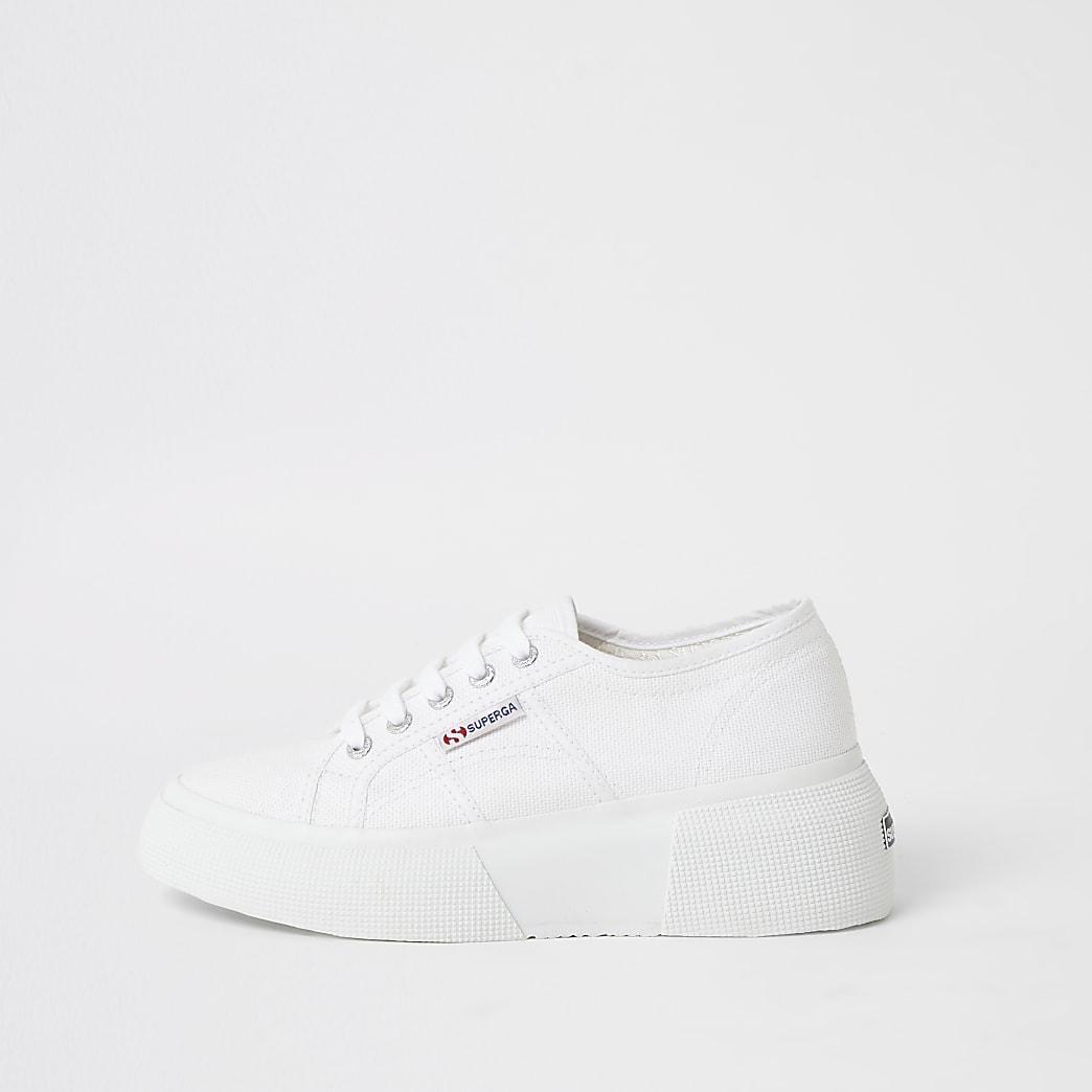 Superga white lace-up platform trainers
