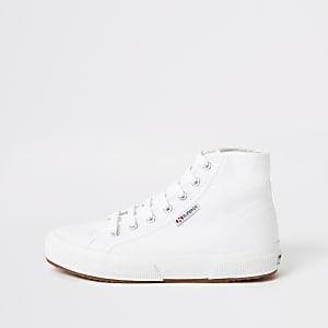 Superga witte hoge sneakers met vetersluiting