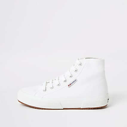 Superga white high top lace-up trainers