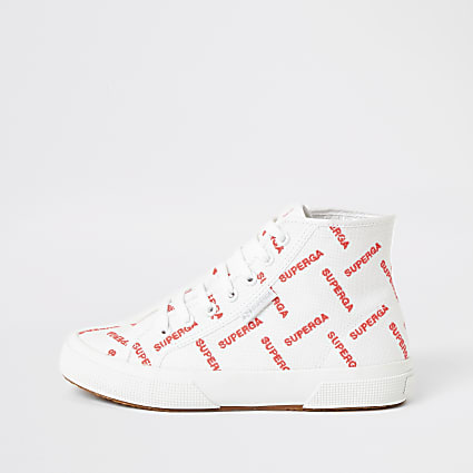 Superga white printed high top trainers