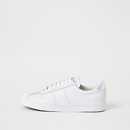Superga white leather lace-up trainers