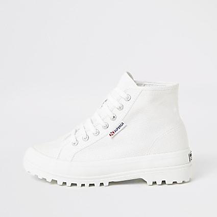 Superga white lace-up chunky sole boots