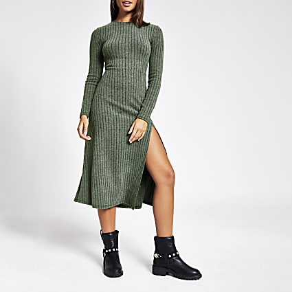 Khaki ribbed jersey midi dress