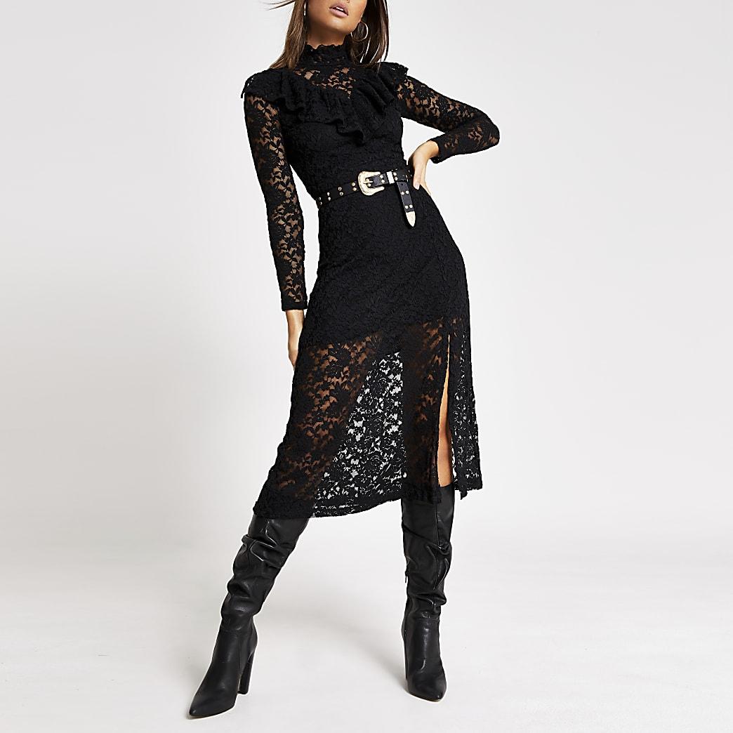 Zwarte hoogsluitende midi-jurk met kanten ruches