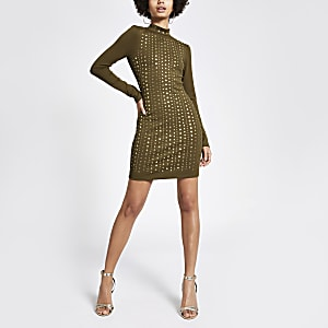 Khakifarbenes Bodycon-Kleid mit Nietenverzierung