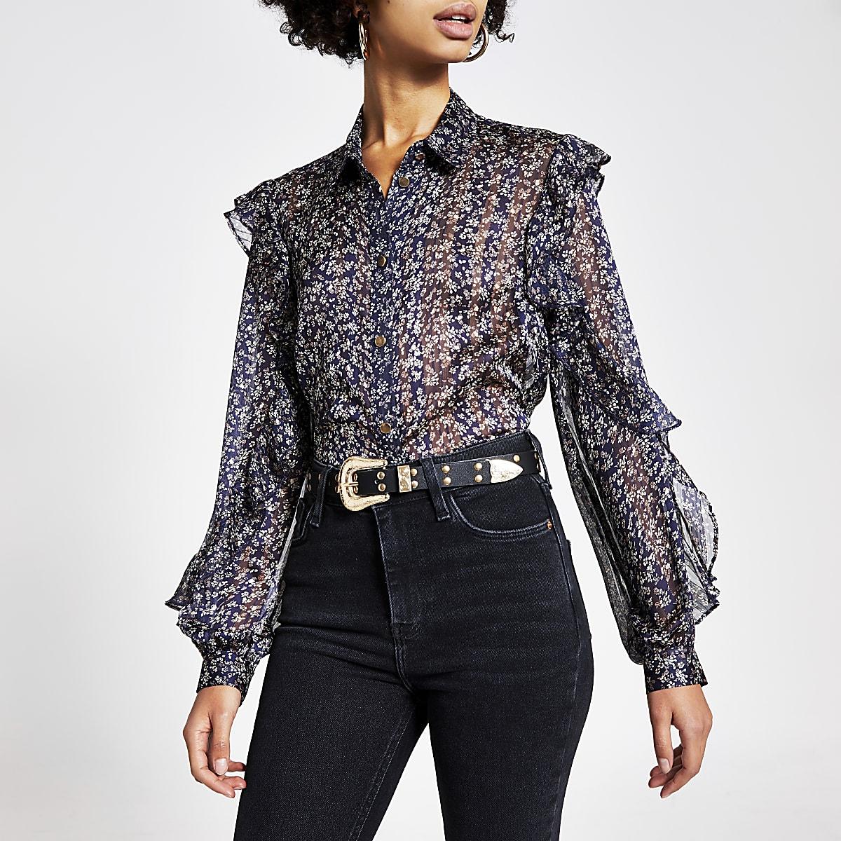 Navy printed long frill sleeve sheer shirt