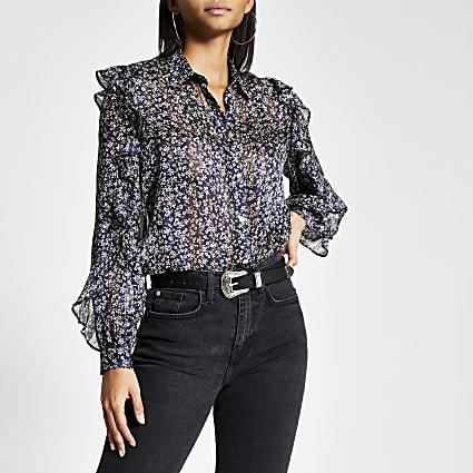 Navy floral frill long sleeve sheer shirt