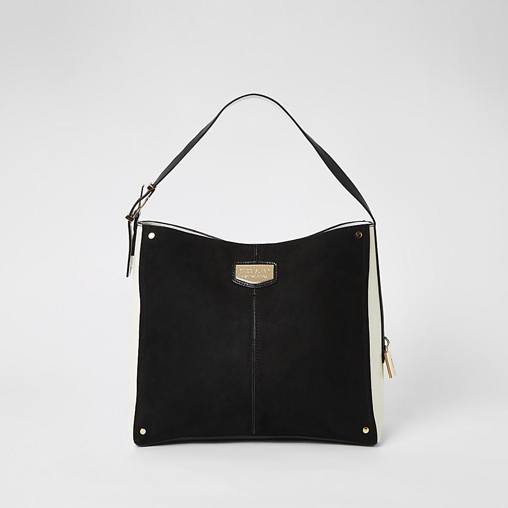 Black suedette padlock side slouch bag