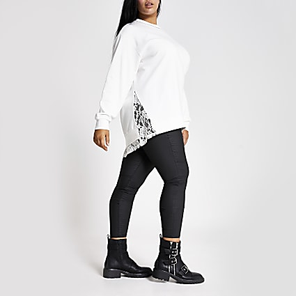 Plus white diamante neck lace trim sweatshirt