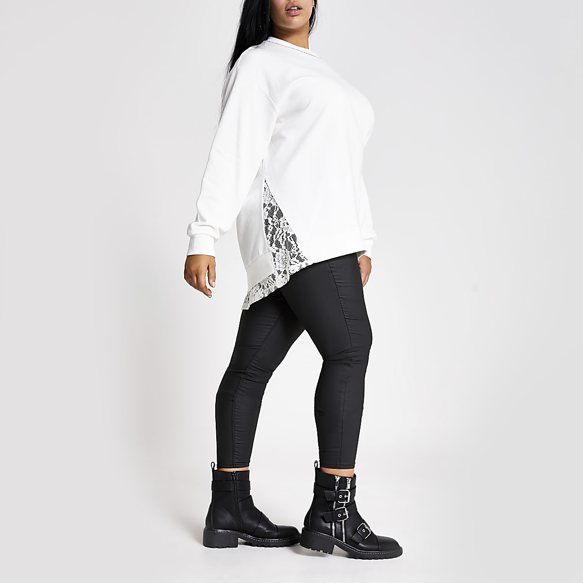 Plus white diamante neck lace trim sweatshirt