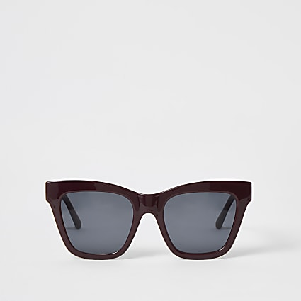 Dark red chain embossed glam sunglasses
