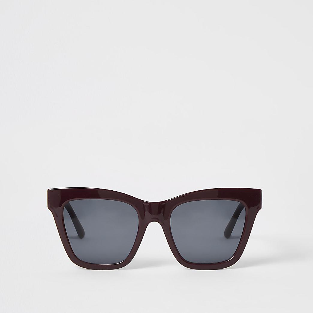 Dark red chain embossed glam sunglasses