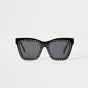 Zwarte glamour zonnebril met siersteentjes