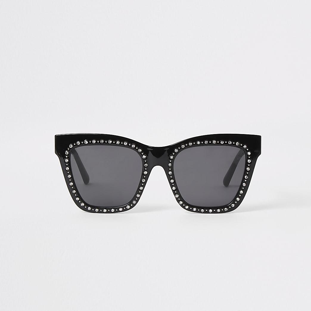Black diamante glam sunglasses