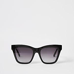 Zwarte glamour zonnebril met kettingprint in reliëf