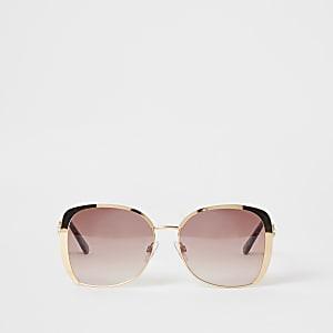 Oversized-Sonnenbrillen mit rosa Gläsern und goldenem Rahmen