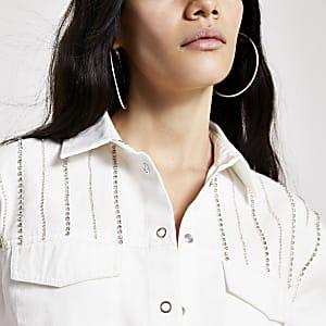 Wit verfraaid denim overhemd met siersteentjes