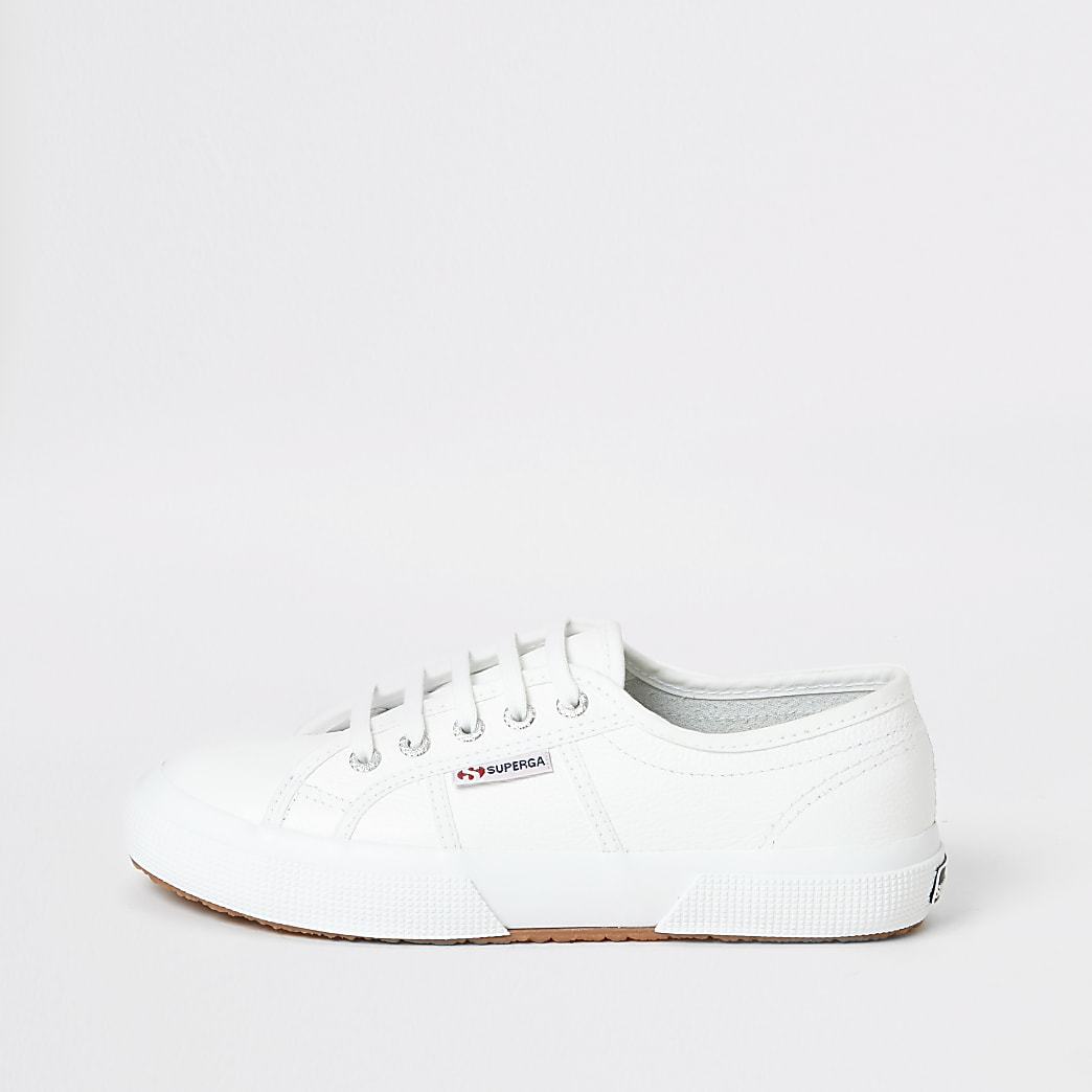 Superga white leather classic runner trainers