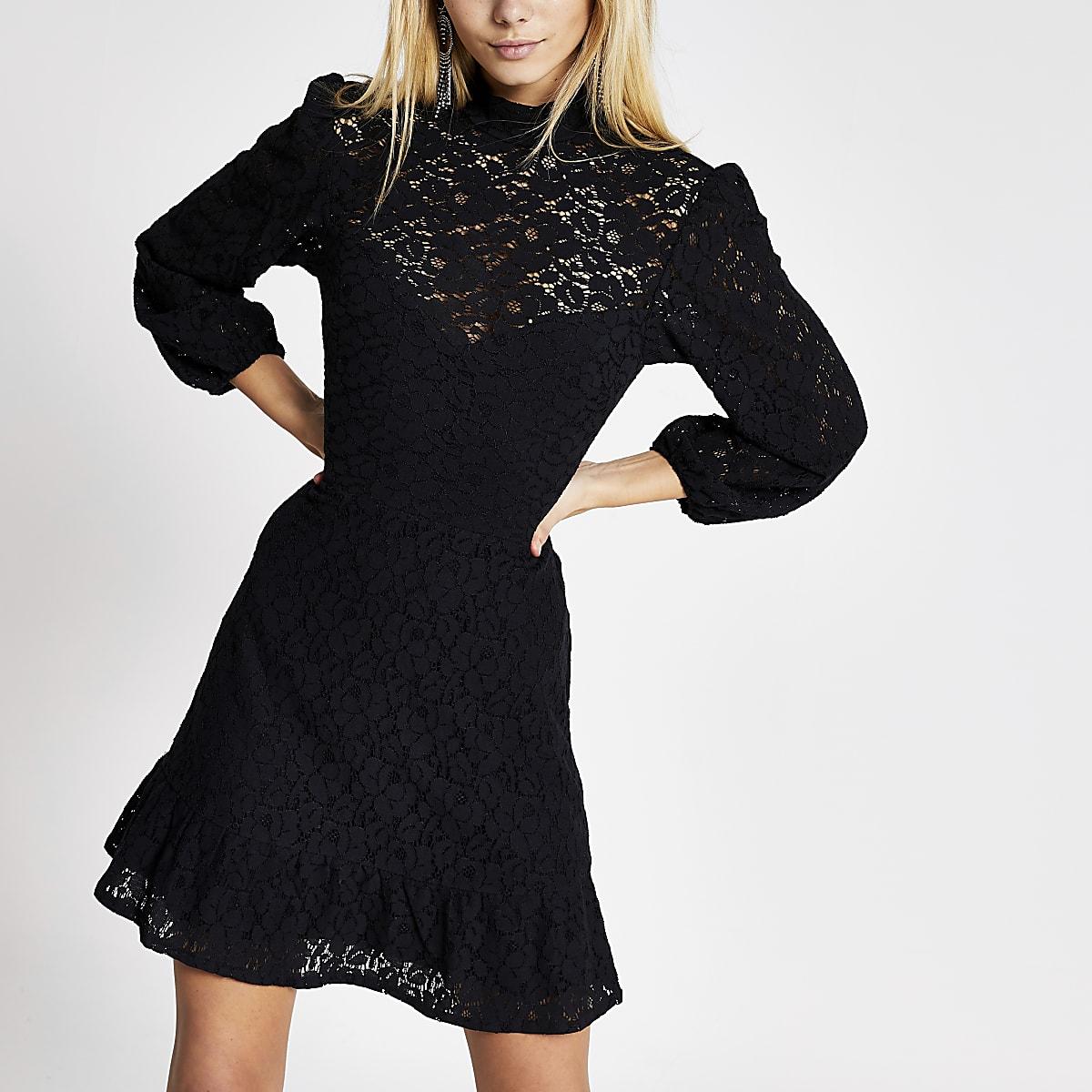 Black lace high neck ruffle hem mini dress