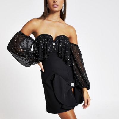 Black bardot frill long sleeve mini dress