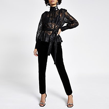 Black lace long sleeve tie belted blouse