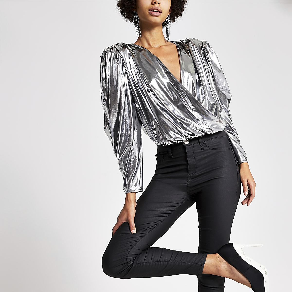 Silver long sleeve wrap front cropped top