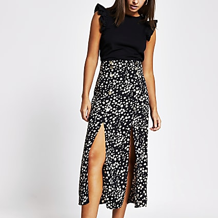 Black printed button front split midi skirt