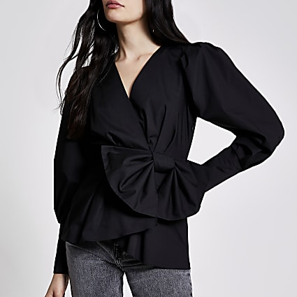 Black wrap bow peplum blouse
