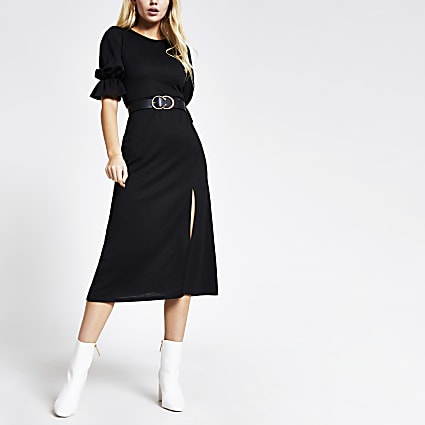 Black split midi dress