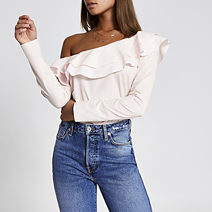 Light pink asymmetric bardot frill blouse