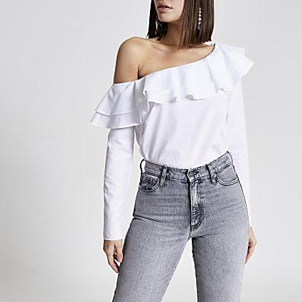 White asymmetric bardot frill blouse