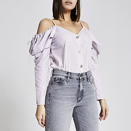Pink stripe cold shoulder button front top