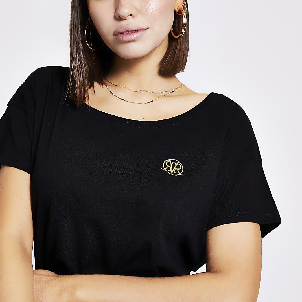 Zwart slouch fit T-shirt met RVR-print en lage hals