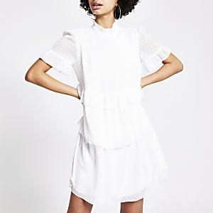 White textured ruffle tier mini smock dress