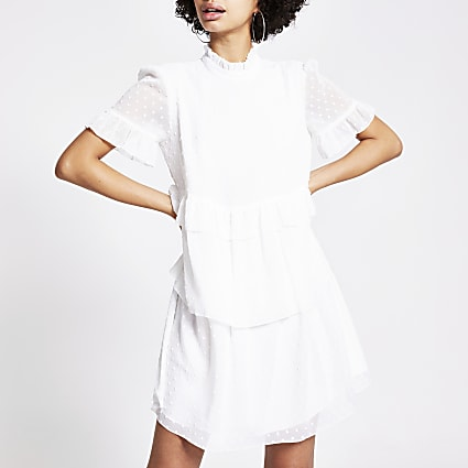 White textured ruffle tier mini smock dress